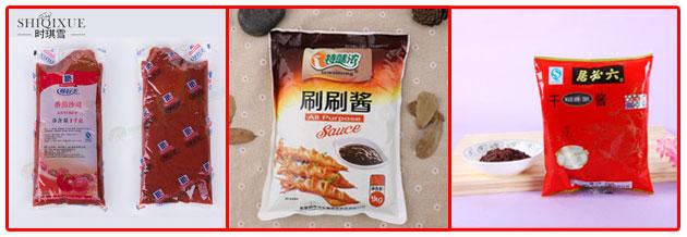 星火全自动调味酱包装机包装样品展示