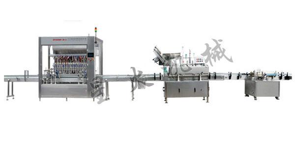 500ml全自动膏液灌装生产线,500ml膏液灌装旋盖流水线